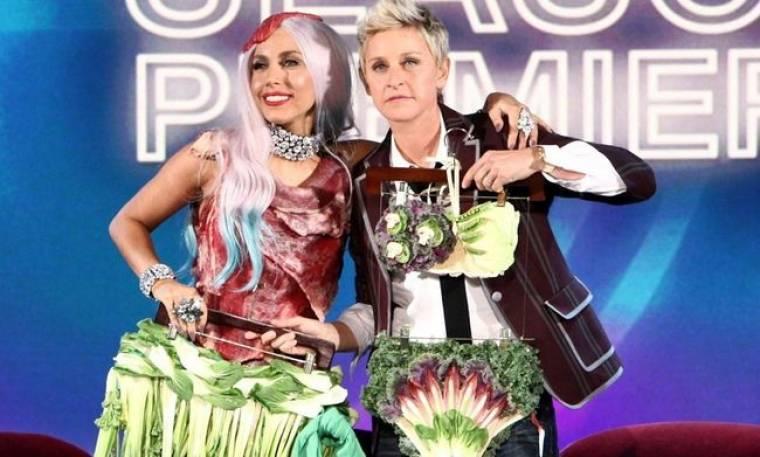 Video: Η Lady GaGa στην Ellen για το φόρεμα - κρέας…