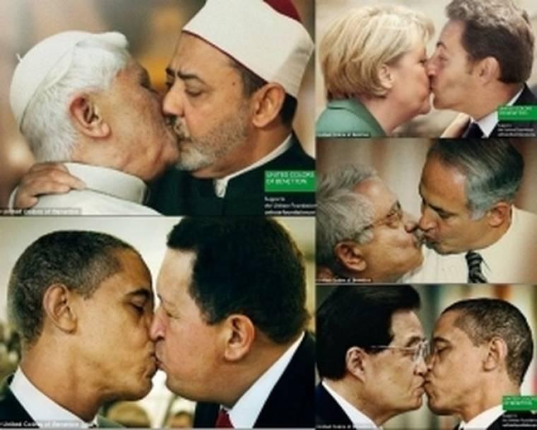 Σάλος από το φιλί Πάπα και Ιμάμη σε καμπάνια της Benetton (pics)