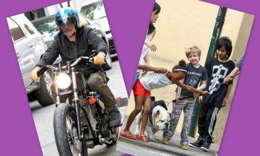 Ο Brad στη μοτοσικλέτα, τα παιδιά με το σκύλο