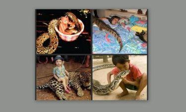 Σοκαριστικές φωτογραφίες παιδιών... αγκαλιά με επικίνδυνα ζώα