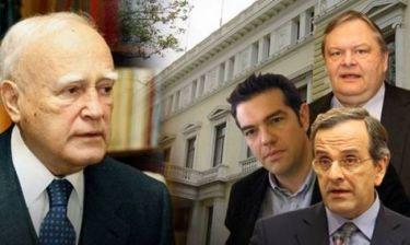 Σαμαράς, Τσίπρας και Βενιζέλος στο Προεδρικό