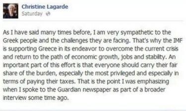 18.000 σχόλια στο post της Lagarde στο Facebook για την Ελλάδα