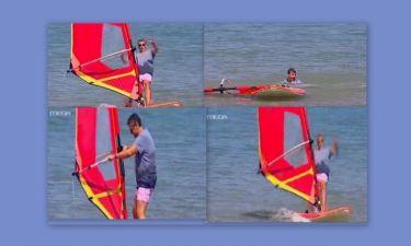 «Τσακίστηκε» ενώ έκανε wind surf ο Λιάγκας! (Ξαναγύρνα στο jet ski)