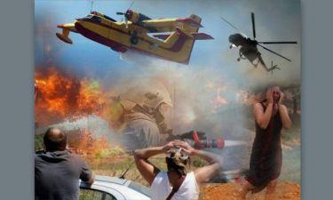 Ανεξέλεγκτη πυρκαγιά απειλεί χωριά στην Αχαΐα
