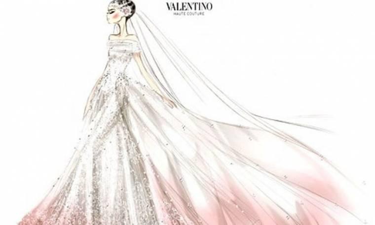 Το σκίτσο του νυφικού της Anne Hathaway από τον Valentino