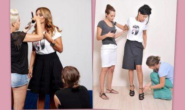 Backstage από τη φωτογράφηση Κοκκίνου-Φουρέιρα για τον καρκίνο του μαστού