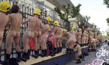 Ισπανοί πυροσβέστες διαμαρτύρονται χωρίς στολή!