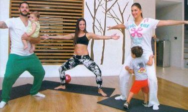 Ράνια Λυκούδη-Ζάχος Αναστασιάδης: Μάθημα pilates με τα παιδιά τους
