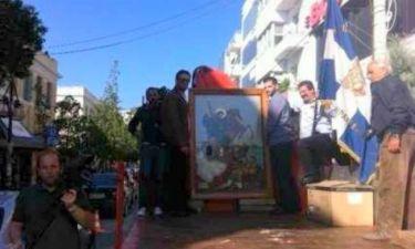 Κρήτη: Περιφέρουν την εικόνα του Αγίου Δημητρίου με φορτηγό