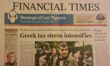 Πρωτοσέλιδο στη σημερινή εφημερίδα Financial Times έγινε ο Κώστας Βαξεβάνης