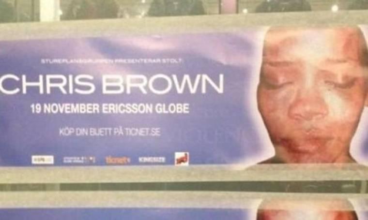 Οι Σουηδοί αντιδρούν στη συναυλία του Chris Brown! Γέμισε η πόλη με αφίσες της ξυλοδαρμένης Rihanna