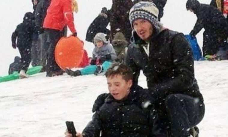 David Beckham: Στα χιόνια με τους γιους του