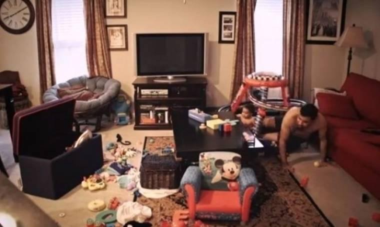 Η μαμά λείπει! Δείτε τι κάνουν μπαμπάς και γιος!