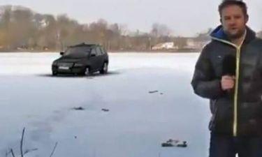 Βίντεο: Σπάει ο πάγος και το αυτοκίνητο…