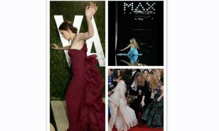 Όχι μόνο η Lawrence: Ποιες άλλες stars έχουν σκοντάψει στο κόκκινο χαλί πατώντας το φόρεμά τους;