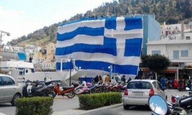 Στην Κάλυμνο η μεγαλύτερη ελληνική σημαία του κόσμου