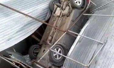 Βίντεο: Πάρκαρε το αυτοκίνητο στη... σκεπή