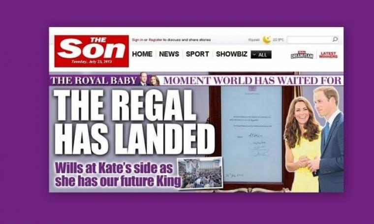 Η εφημερίδα «The Sun» έγινε... «The son» για το μωρό της Kate και του πρίγκιπα William!