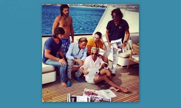 Ο Ψινάκης στο σκάφος με τον Valentino και τον Giancarlo Giammetti
