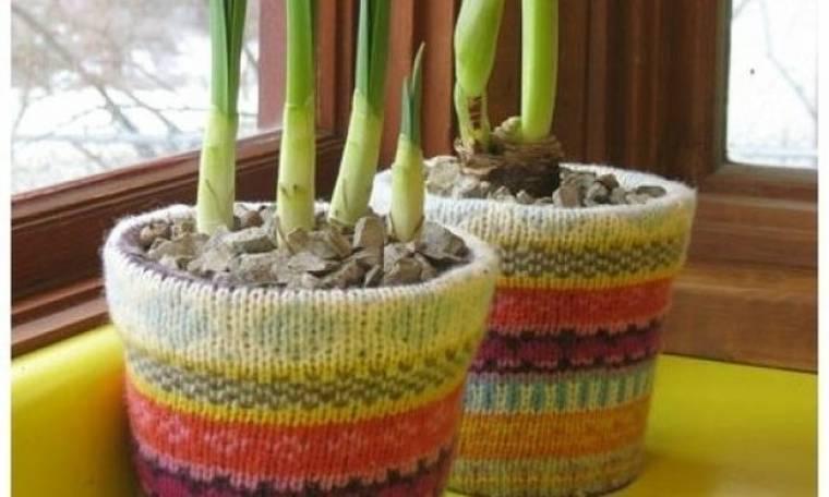 Ντύστε τις γλάστρες με το πουλόβερ σας