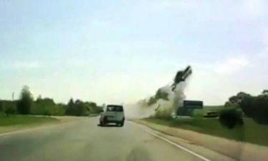 Σοκαριστικό βίντεο - Όχημα συγκρούστηκε και εκσφενδονίστηκε στον αέρα!