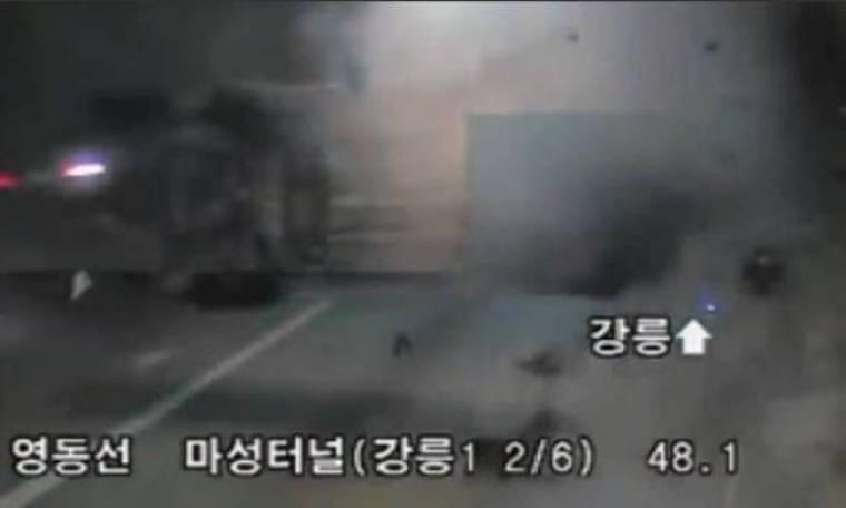 Σοκαριστικό τροχαίο κατέγραψε κάμερα σε τούνελ στη Νότια Κορέα