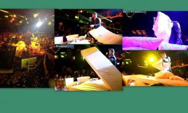 Απίστευτο σκηνικό! Έριξαν τραπέζια, καρέκλες και μαξιλάρες στον Παντελίδη την ώρα που τραγούδαγε