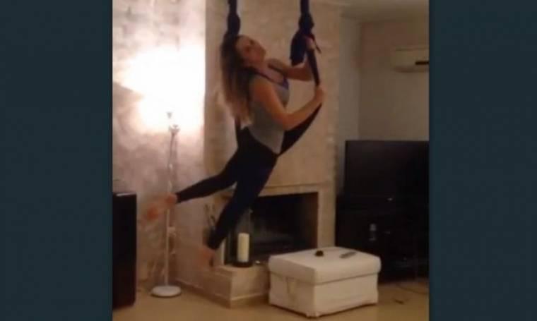 Δείτε τη Σόφη Πασχάλη να γυμνάζεται με πρωτότυπο τρόπο στο σπίτι της