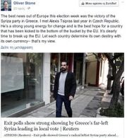 O Oliver Stone πανηγυρίζει για τη νίκη του ΣΥΡΙΖΑ στις ευρωεκλογές
