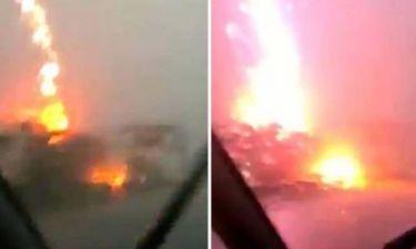 Πολωνία: Φορτηγό τυλίχθηκε στις φλόγες μετά από χτύπημα κεραυνού! (video)