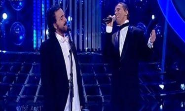 Ο Luciano Pavarotti και ο Eros Ramazzotti στο YFSF