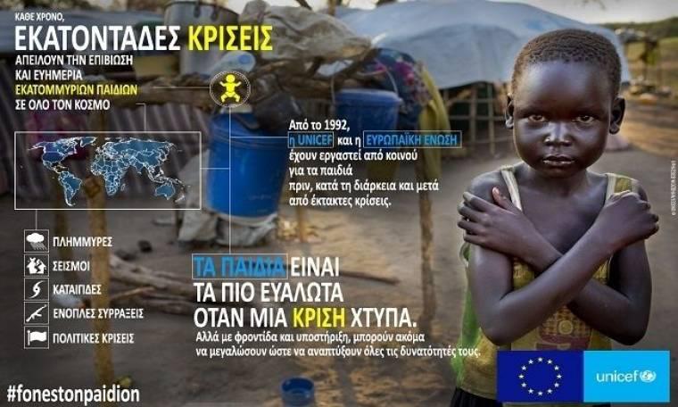 Η Ευρωπαϊκή Ένωση και η UNICEF ξεκινούν την εκστρατεία: «Φωνές των Παιδιών σε Καταστάσεις Έκτακτης Ανάγκης»