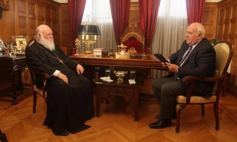 Ο Γιώργος Παπαδάκης συναντά τον Αρχιεπίσκοπο Αθηνών και πάσης Ελλάδος, Ιερώνυμο