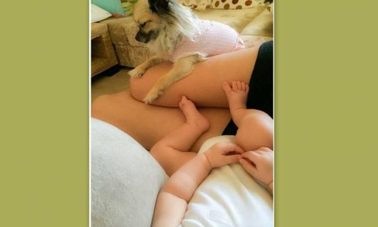 Αραχτή και λάιτ με τον σχεδόν τριών μηνών γιο της