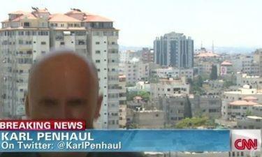 Ανταποκριτής του CNN στην Γάζα τρέχει να καλυφθεί έπειτα από έκρηξη