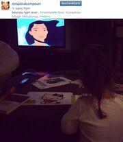 Πέρασε το σαββατόβραδό της βλέποντας «Ποκαχόντα» με την κόρη της!