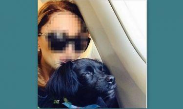Στο αεροπλάνο με τον σκύλο της η…