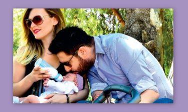 Γιώγος Χειμωνέτος - Εύα Μουρτζάκη: Οι τρυφερές φωτογραφίες με την τριών μηνών κόρη τους!