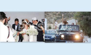 Ο γάμος στην Μύκονο, η άφιξη της νύφης με τζιπ και το καπελάκι του κουμπάρου