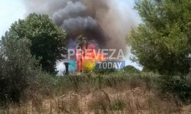 Πυρκαγιά και στην Πρέβεζα (video)