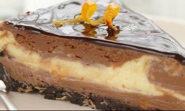 Γιορτινό cheesecake με σοκολάτα και πορτοκάλι