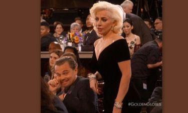 Η αντίδραση του Leonardo Di Caprio όταν η Lady Gaga τον έσπρωξε!