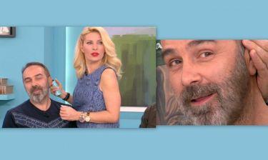 Η Μενεγάκη έβαψε καστανό το μούσι του Γκουντάρα on air