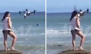 Drone προσγειώθηκε στο κεφάλι διάσημου μοντέλου! (photos+video)