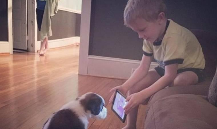 Οι φωτογραφίες του μικρού αγοριού που εκπαιδεύει το σκύλο του έγιναν viral