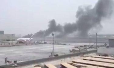 Συναγερμός στο αεροδρόμιο του Ντουμπάι - Αεροπλάνο στις φλόγες μετά από αναγκαστική προσγείωση