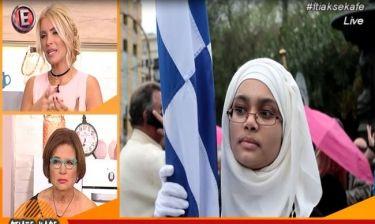 Σάλος με την αντίδραση της Βέφας για τη σημαιοφόρο με τη μαντήλα: «Πολέμησαν κι οι παππούδες της;»
