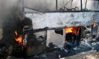 Φωτιά σε λεωφορείο γεμάτο επιβάτες στη Λ. Μεσογείων