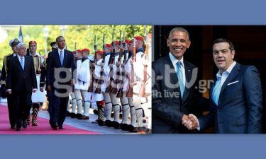 Καρέ-Καρέ η συνάντηση Obama με Παυλόπουλο και Τσίπρα