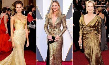 Χρυσά κορίτσια: Celebrities που εμφανίστηκαν στο «κόκκινο» χαλί ντυμένες σαν τα… Όσκαρ!